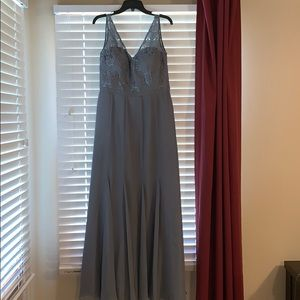 Weddington Way slate gray bridesmaid dress